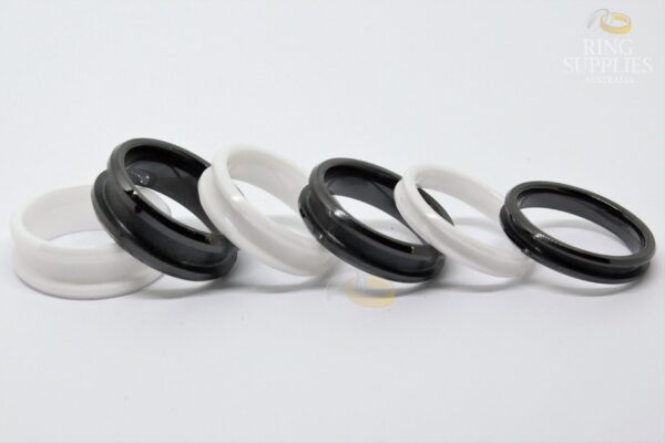 White ceramic ring blanks with channel groove