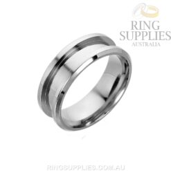 Stainless steel ring blank with inlay channel