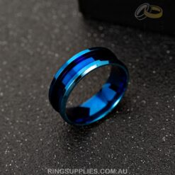 Blue coloured stainless steel ring blank with inlay channel