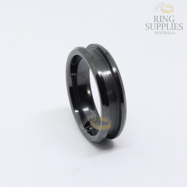 6mm black ceramic ring blanks with channel groovev