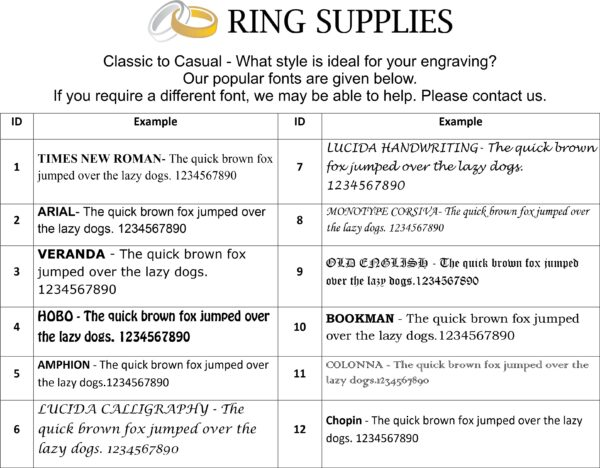 Ring Engraving Fonts